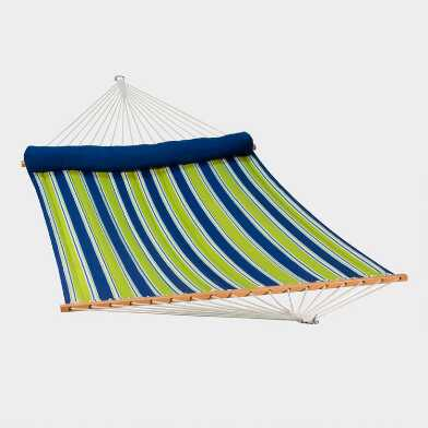 Green and Blue Stripe Quilted Double Hammock with Pillow
