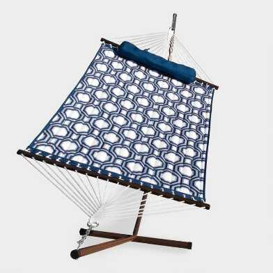Blue Quilted Single Hammock with Stand