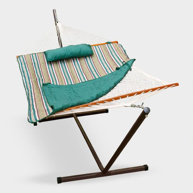 Cotton Rope Single Hammock and Teal Striped Pad with Stand