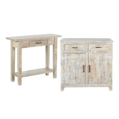 Whitewash Wood Leigh Living Furniture Collection