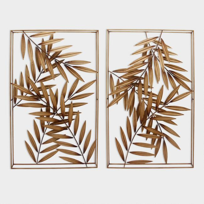 Gold Metal Palm Leaf Panel Wall Art Set Of 2