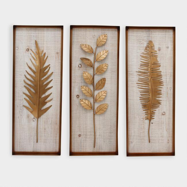 Bronze Gold Metal Fern Panel Wall Art Set Of 3