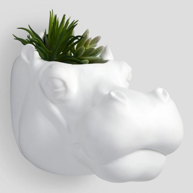 White Ceramic Hippo Head Planter