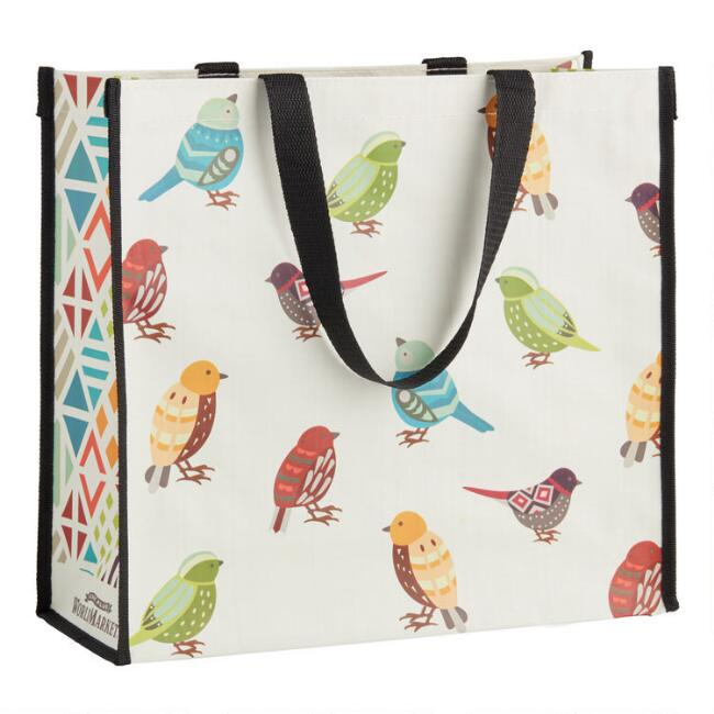 Large Multicolored Bird Tote Bag