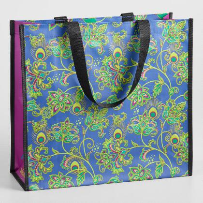 Large Blue Peacock Feather Floral Tote Bag
