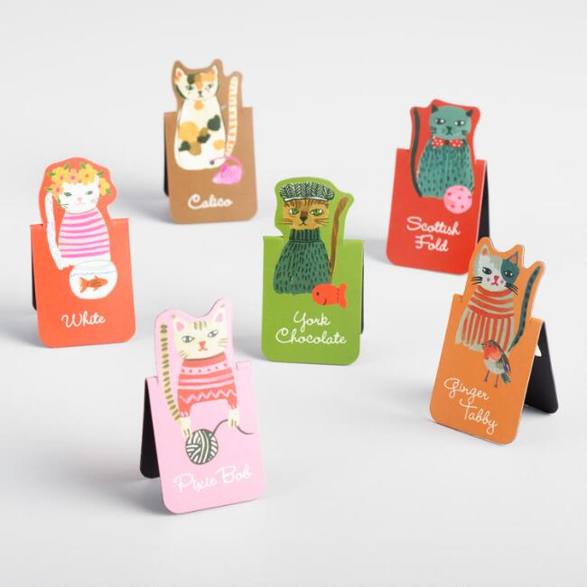 Cool Cats Magnetic Bookmarks Set of 6