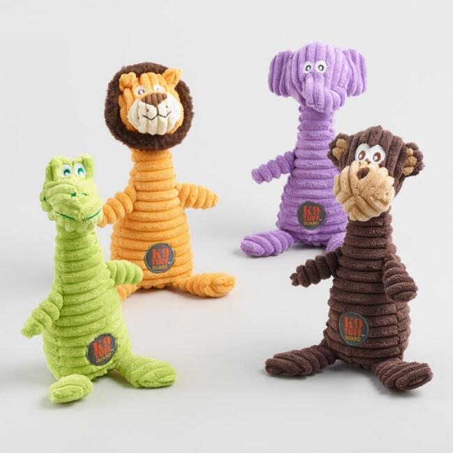Squeaking Squiggles Corduroy Dog Toys Set of 4