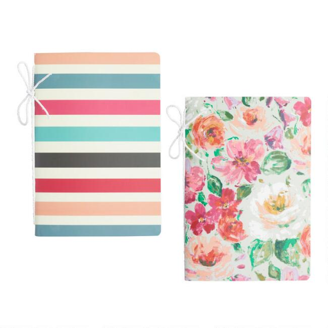 Floral and Stripe Journals Set of 2