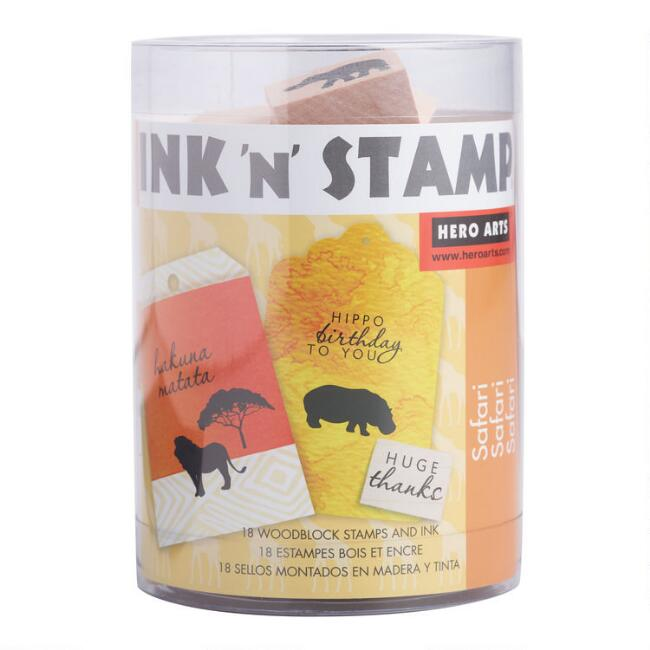 Wood Block Safari Animals Stamp Set