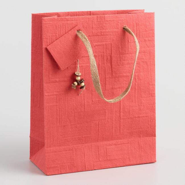 Large Red Woven Handmade Gift Bag