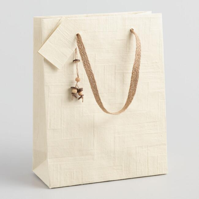Large Natural Woven Handmade Gift Bag