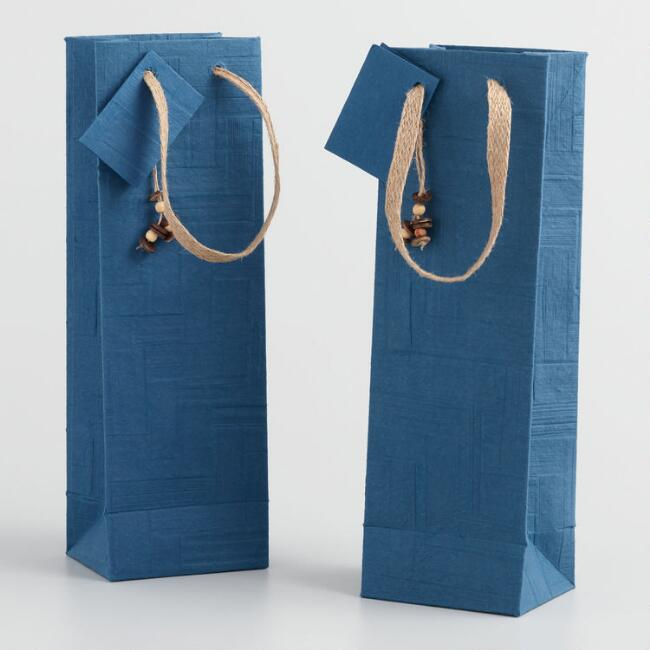 Blue Woven Handmade Wine Bags Set of 2