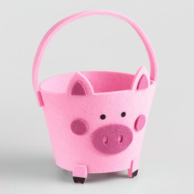 Pink Felt Pig Gift Container