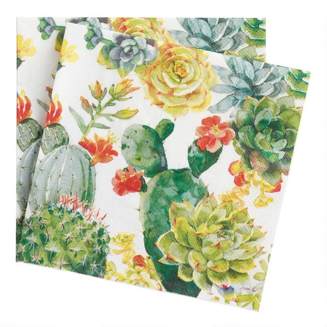 Floral Cactus Lunch Napkins 20 Count
