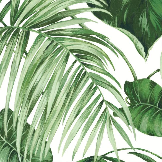 Green and White Leaves Wallpaper Mural