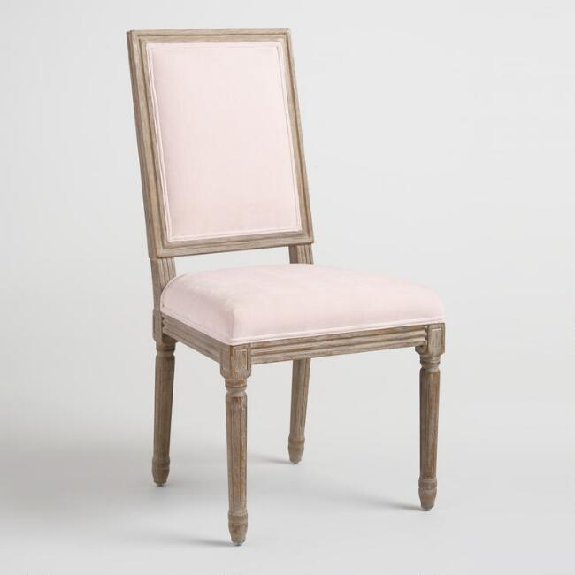 Blush Velvet Paige Square Back Dining Chairs Set of 2