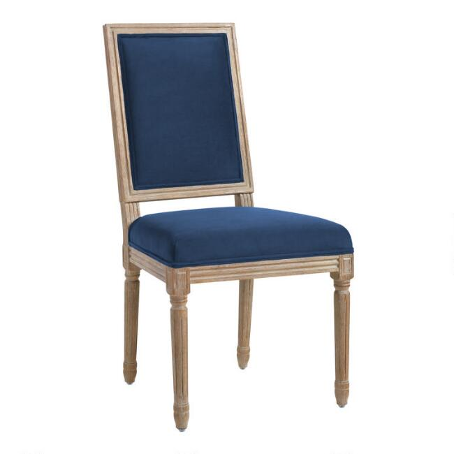 Ink Blue Velvet Paige Square Back Dining Chairs Set of 2