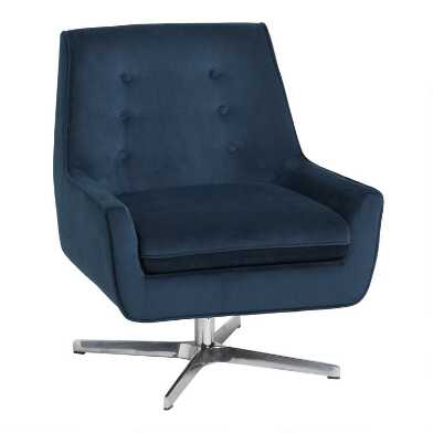 Ink Blue Velvet Brooks Swivel Chair