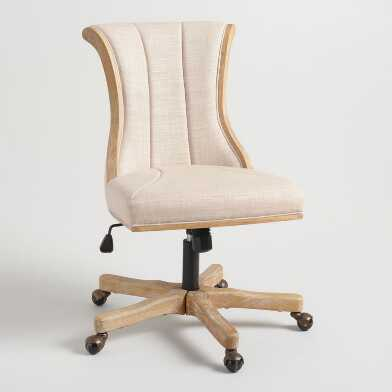 Natural Linen Channel Back Upholstered Office Chair