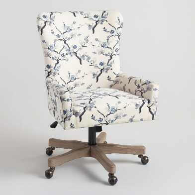 Ivory and Blue Blossom Trystan Upholstered Office Chair