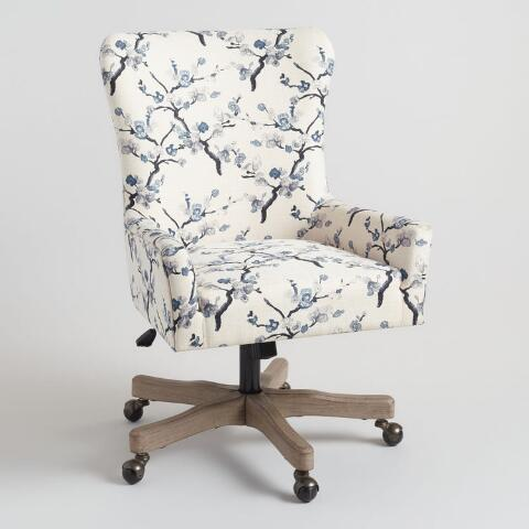 Decals For Baby Room, Ivory And Blue Blossom Trystan Upholstered Office Chair World Market