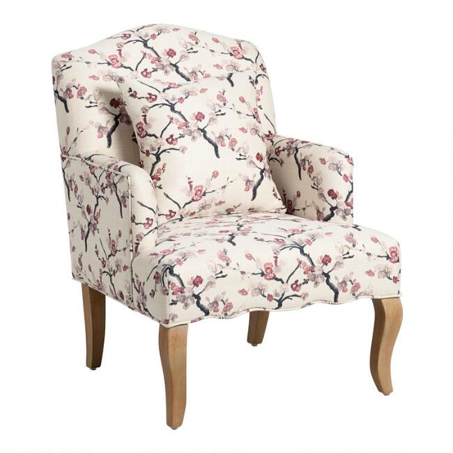 Ivory and Blush Blossom Davenport Upholstered Armchair