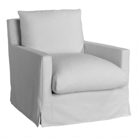 Wondrous Ivory Feather Filled Swivel Brynn Armchair World Market Bralicious Painted Fabric Chair Ideas Braliciousco