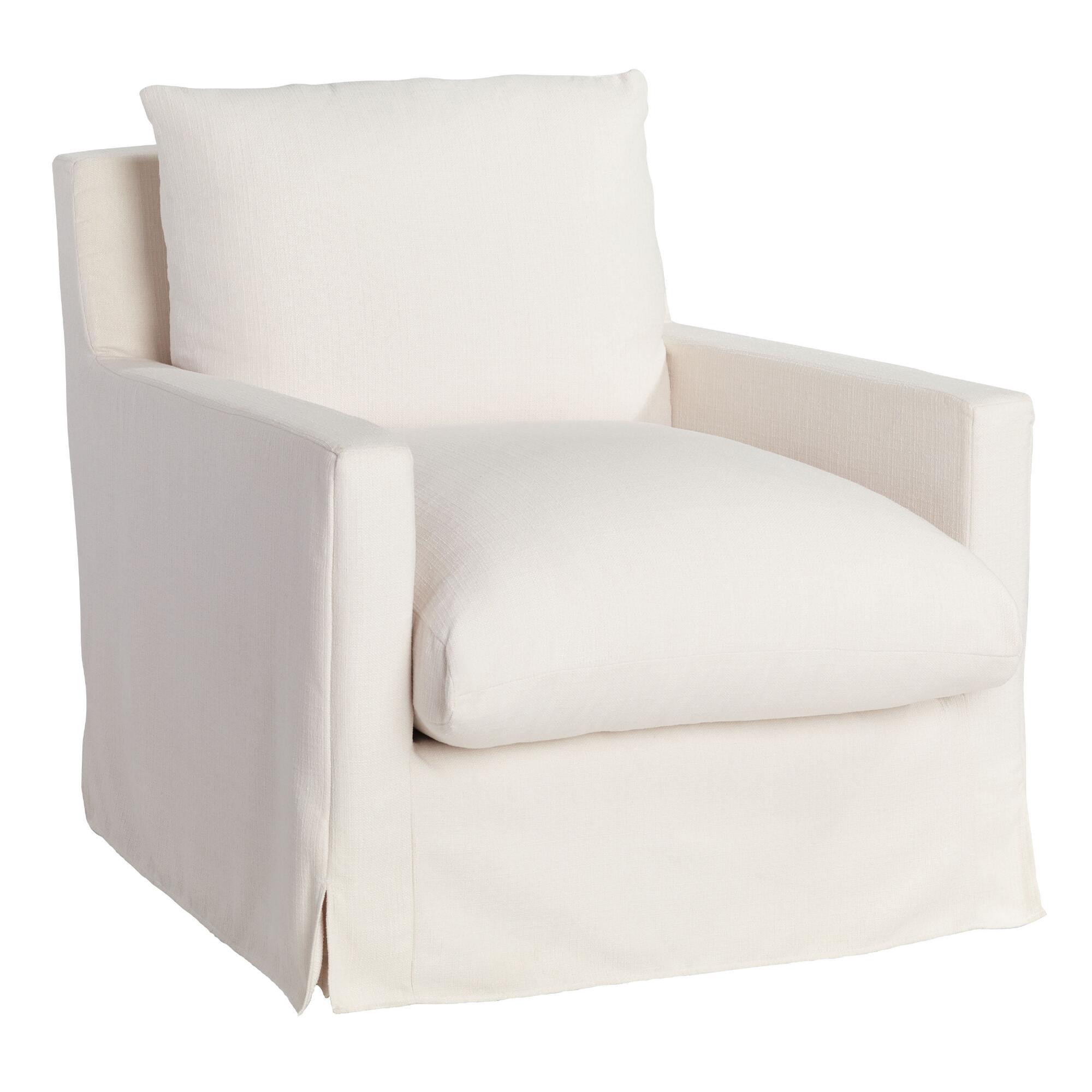Brynn feathered filled ivory swivel arm chair