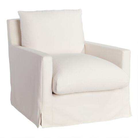 Fine Ivory Feather Filled Swivel Brynn Armchair World Market Bralicious Painted Fabric Chair Ideas Braliciousco