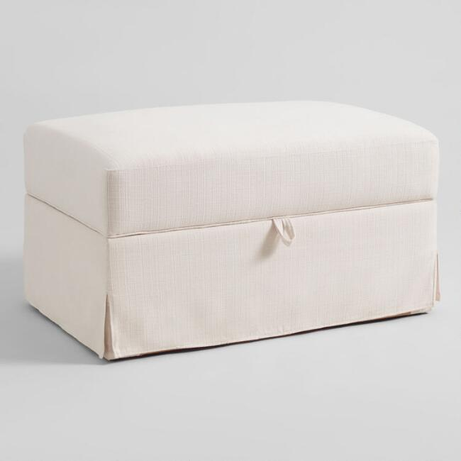 Ivory Feather Filled Brynn Storage Ottoman
