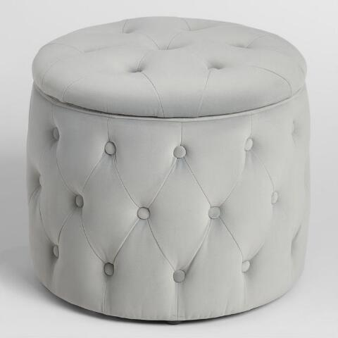 Cool Pastel Tufted Velvet Storage Ottoman World Market Ncnpc Chair Design For Home Ncnpcorg