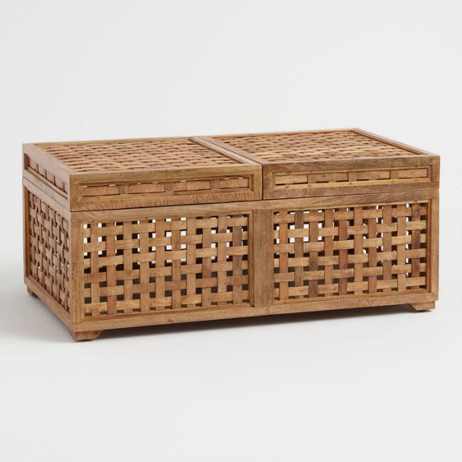 Slide Top Woven Jonna Storage Coffee Table