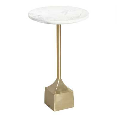 Round White Marble And Gold Metal Norah Accent Table
