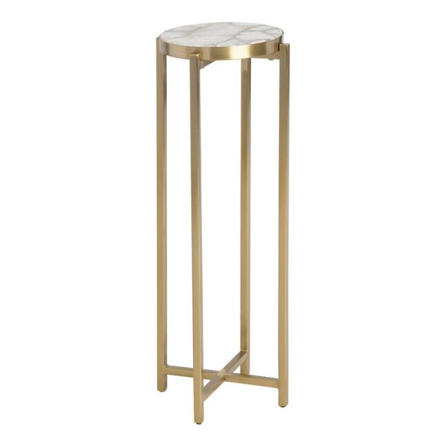 Round Natural Quartz and Metal Lilian Drink Table