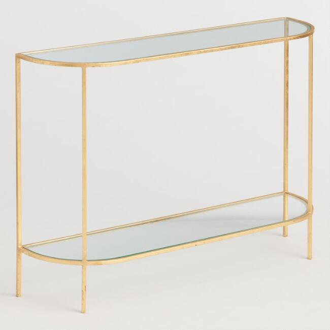 Glass and Gold Leaf Rosalyn Console Table