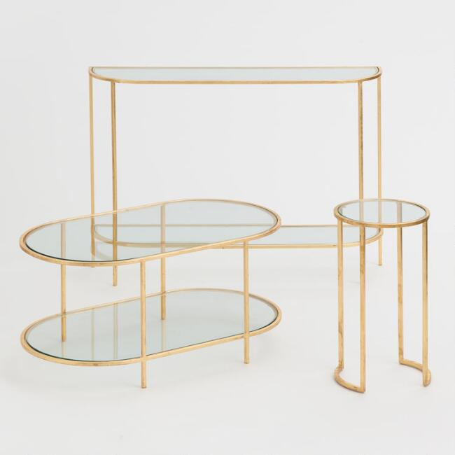 Glass and Gold Leaf Rosalyn Table Collection