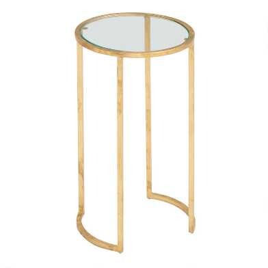 Glass and Gold Leaf Rosalyn Accent Table
