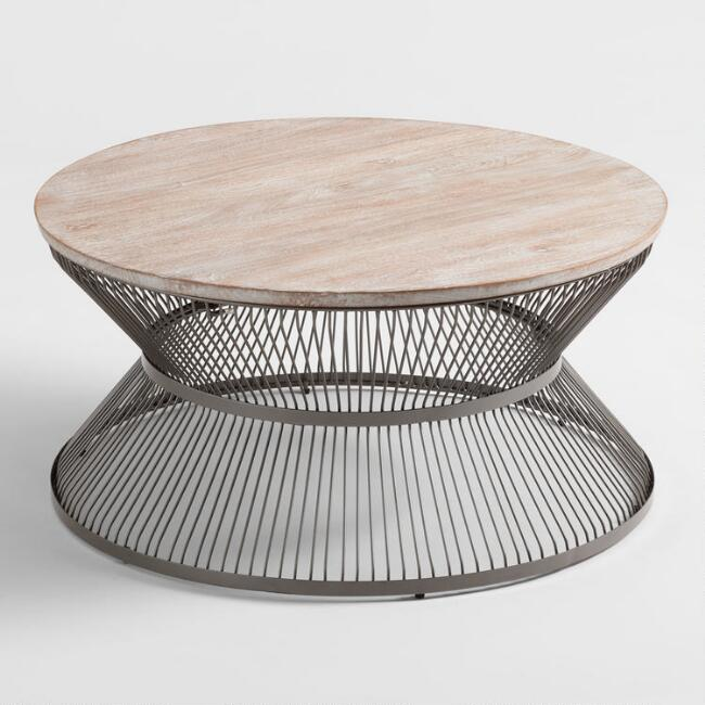 Round Wood and Metal Kearny Coffee Table