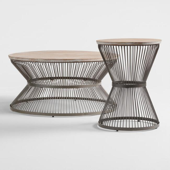 Round Wood and Metal Kearny Table Collection