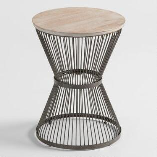 Round Wood And Metal Kearny Accent Table