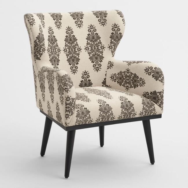 Espresso and Ivory Print Loretta Wingback Chair