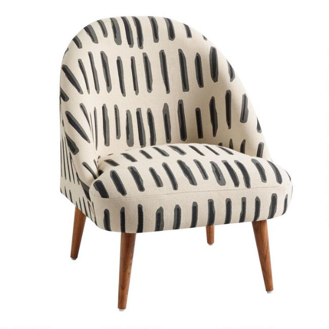 Charcoal Gray And Ivory Dash Print Noemi Chair