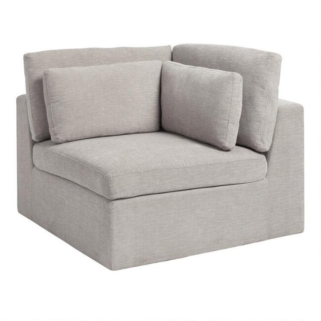 Gray Emmett Modular Sectional Corner Chair