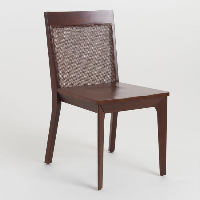 Mahogany Brown Wood and Cane Cade Dining Chair Set of 2