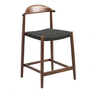 Charcoal Gray Woven Aimee Counter Stool
