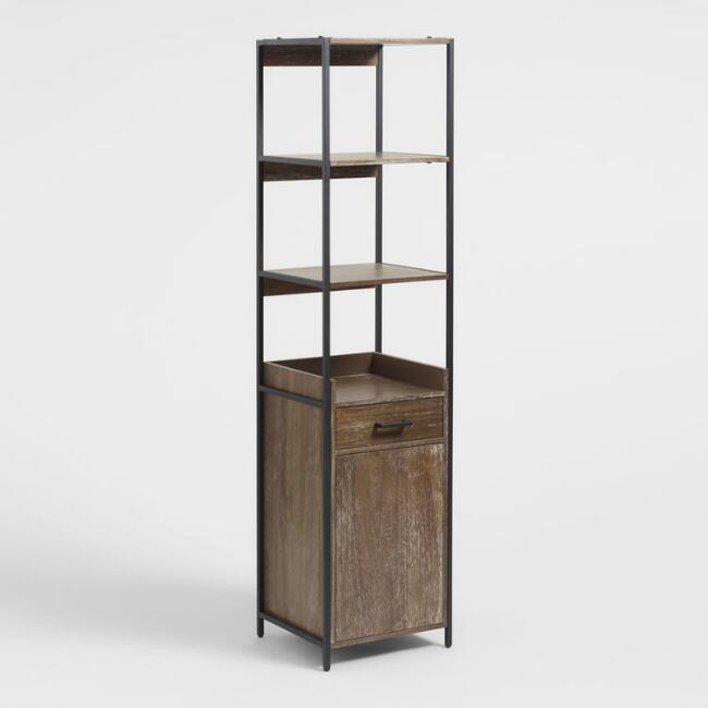 Wood and Metal Modular Isaiah Bookshelf with Cabinet