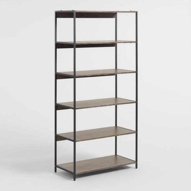 Wood and Metal Modular Isaiah Bookshelf