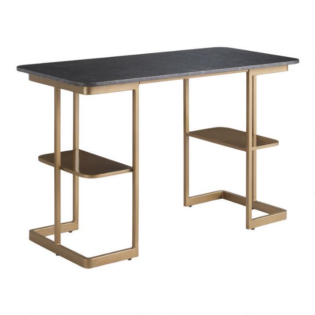Black Granite and Gold Metal Celine Desk with Shelves