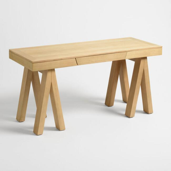 Bleached Oak and Poplar Gemma Sawhorse Desk