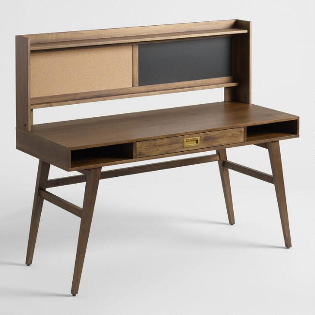 Smoke Brown Wood Tristan Desk with Cork and Chalkboard